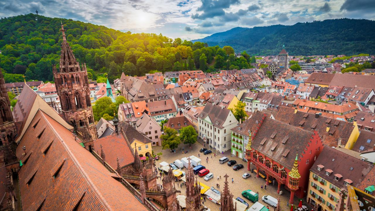 Ariel view of the German city of Freiburg
