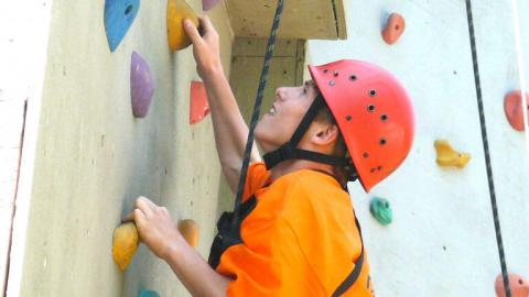 Indoor rock climbing at Alpadia Toronto English Summer Camp