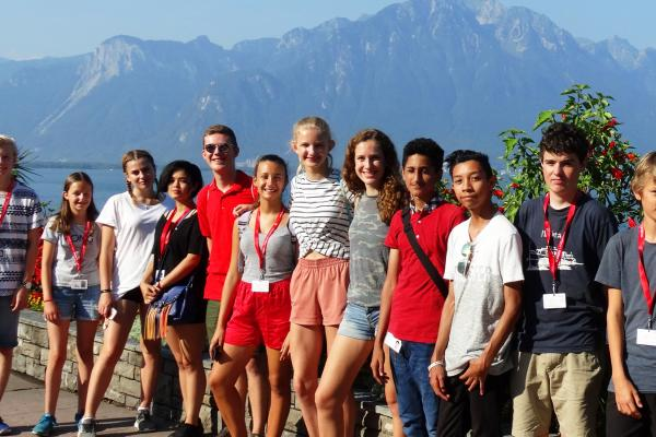 alpadia summer camps students in front of mountain